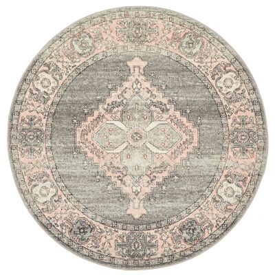 Avenue No.703 Tribal Round Rug, 200cm, Charcoal / Pink