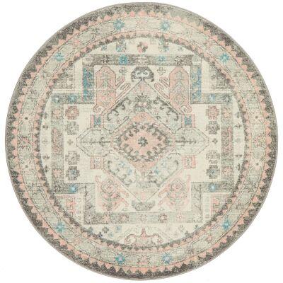 Avenue No.704 Tribal Round Rug, 200cm, Grey / Pink
