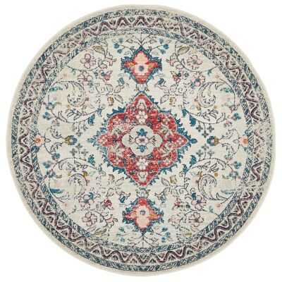 Avenue No.705 Tribal Round Rug, 150cm, Off White / Red