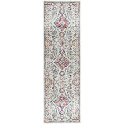 Avenue No.705 Tribal Runner Rug, 400x80cm, Off White / Red