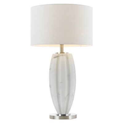 Axis Ceramic Base Table Lamp, White Marble