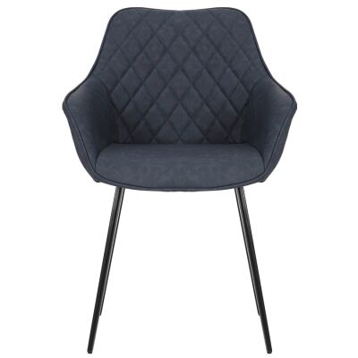 Aaric Commercial Grade Faux Leather Dining Armchair, Navy