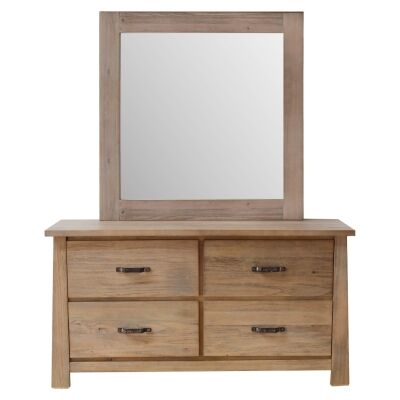Tiverton Mountain Ash Timber 4 Drawer Dresser with Mirror