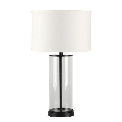 Left Bank Glass Base Table Lamp, Black / White