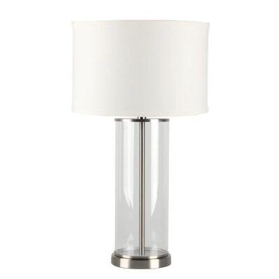 Left Bank Glass Base Table Lamp, Nickel / White