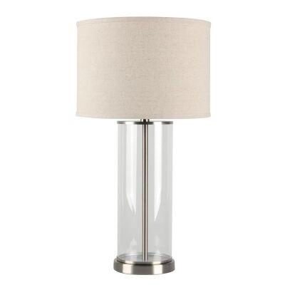 Left Bank Glass Base Table Lamp, Nickel / Oatmeal