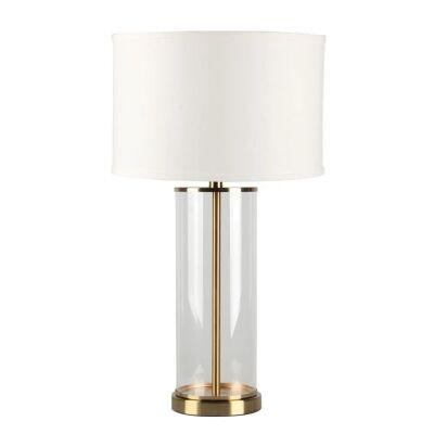 Left Bank Glass Base Table Lamp, Brass / White