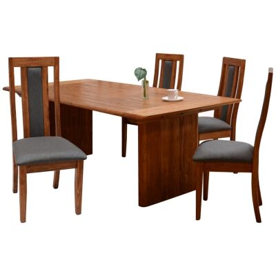 Amold 7 Piece Mountain Ash Timber Dining Table Set, 180cm