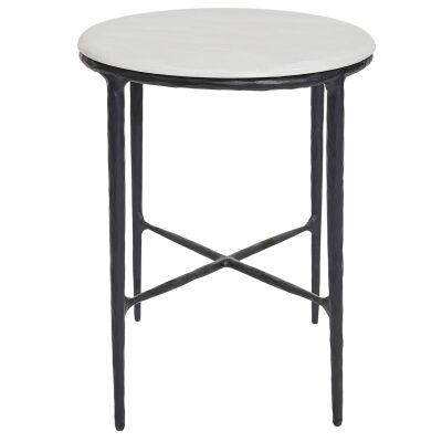 Heston Iron & Marble Side Table, Black