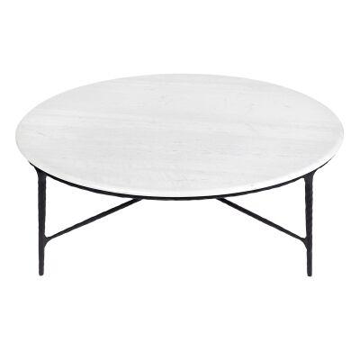 Heston Marble Topped Iron Round Coffee Table, 120cm, White / Black
