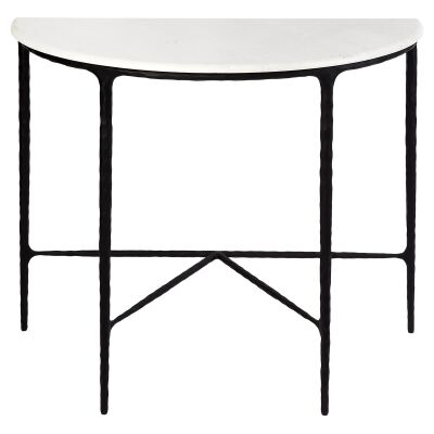 Heston Iron & Marble Demilune Table, 90cm, Black