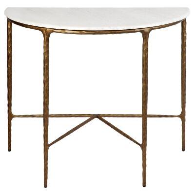 Heston Iron & Marble Demilune Table, 90cm, Brass