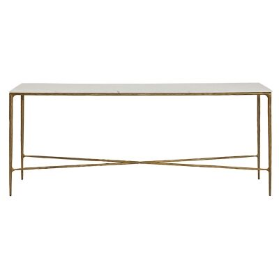 Heston Marble & Iron Console Table, 180cm, Brass