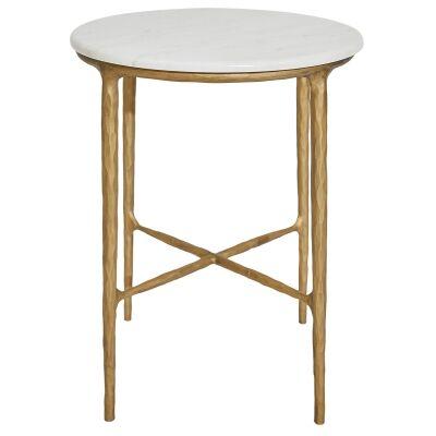Heston Iron & Marble Side Table, Brass