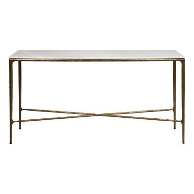 Heston Marble & Iron Console Table, 140cm, Brass