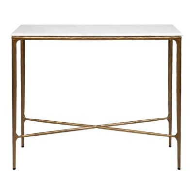 Heston Marble & Iron Console Table, 90cm, Brass