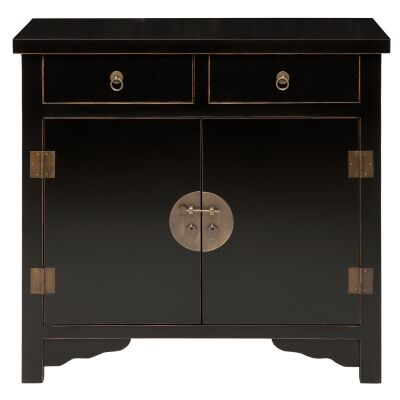 Ava Pine Timber 2 Door 2 Drawer Sideboard, 90cm, Distressed Black