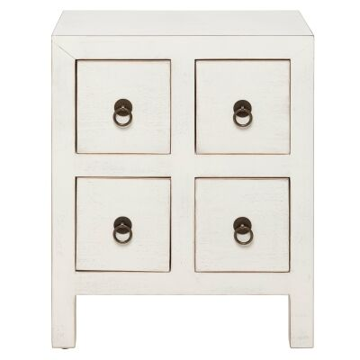 Cove Pine Timber Bedside Table, Distressed White