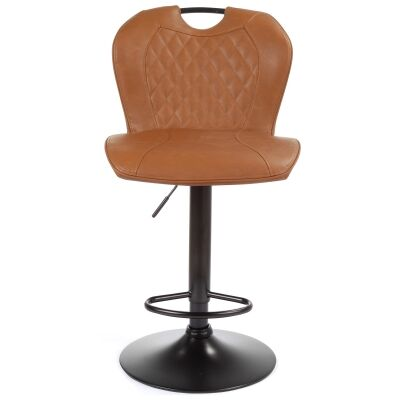 Bishop Fabric & Metal Gas Lift Counter / Bar Stool, Vintage Cognac