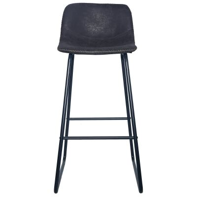 Berry Fax Leather Bar Stool, Black
