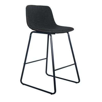 Berry Faux Leather Counter Stool, Black