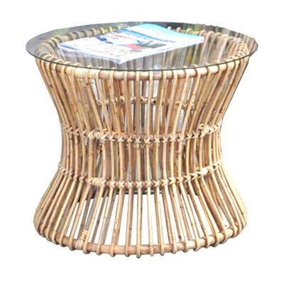 Brades Rattan Round Side Table, Natural