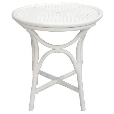 Filton Rattan Round Side Table, White