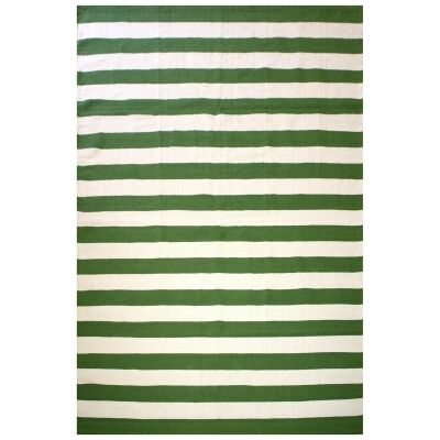 Bands Reversible Cotton Rug, 225x155cm, Green / White