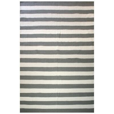 Bands Reversible Cotton Rug, 225x155cm, Grey / White