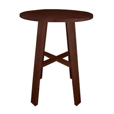Chunk Commercial Grade Rubberwood Round Bar Table, 80cm,  Walnut