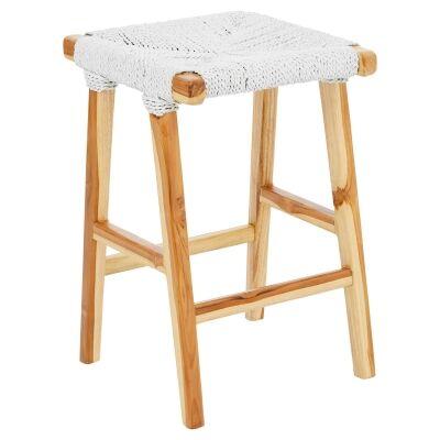 Kameni Timber Counter Stool, Woven Seat, White / Natural