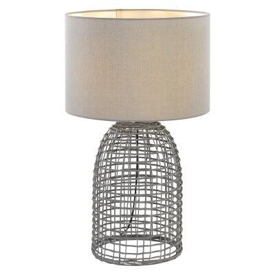 Bayz Rattan Base Table Lamp, large,  Grey