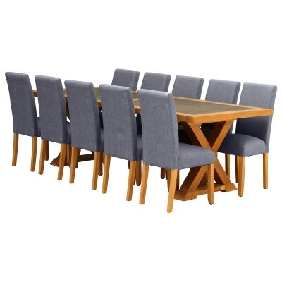 Sefton 11 Piece Pine Timber Dining Table Set, 240cm, Light Grey Arwen Chair