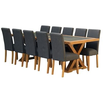 Sefton 11 Piece Pine Timber Dining Table Set, 240cm, Dark Grey Arwen Chair