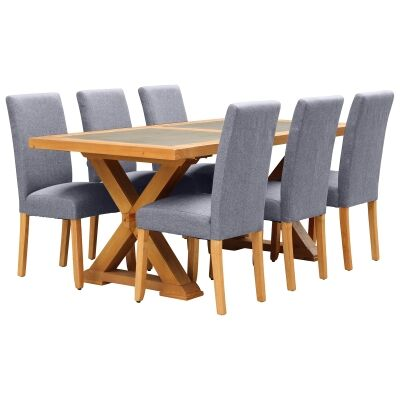 Sefton 7 Piece Pine Timber Dining Table Set, 180cm, Light Grey Arwen Chair