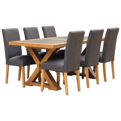 Sefton 7 Piece Pine Timber Dining Table Set, 180cm, Dark Grey Arwen Chair