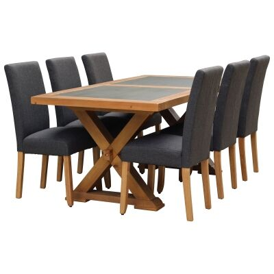 Sefton 9 Piece Pine Timber Dining Table Set, 210cm, Dark Grey Arwen Chair