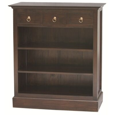 Solid Mahogany Timber Bookcase, Chocolate