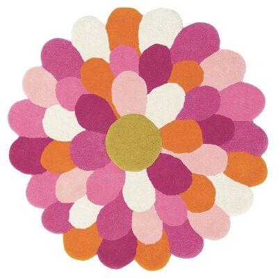 Harlequin Funky Flower Hand Tufted Designer Kids Wool Rug, 110x110cm