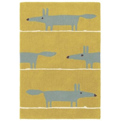 Scion Mr Fox Hand Tufted Designer Wool Rug, 180x120cm, Mustard