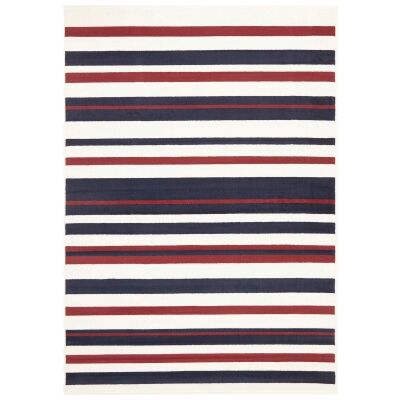 Parallel Stripes Belgian Made Modern Rug, 230x160cm, Red / Blue