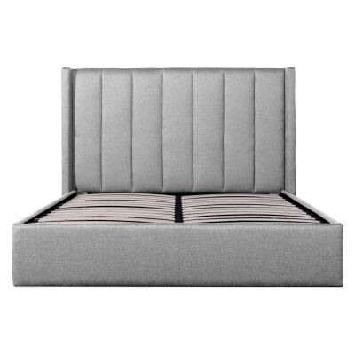 Frogmore Fabric Gas Lift Platform Bed, King, Pearl Grey