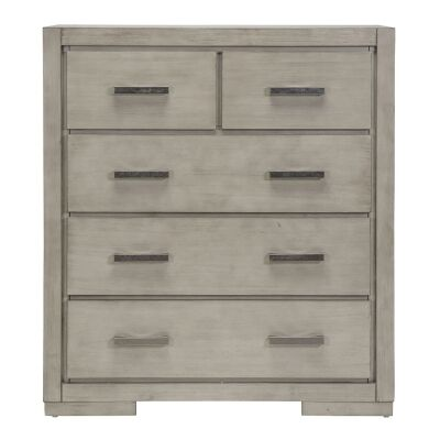 Basha Hardwood Tallboy, 5 Drawer, Grey