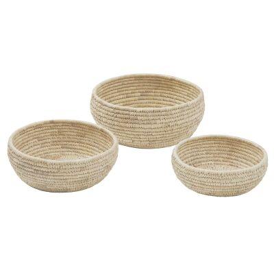 Bolla 3 Piece Kans Grass & Date Leaf Bowl Set