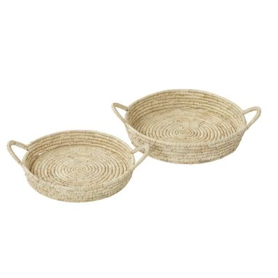 Bolla 2 Piece Handwoven Kans Grass & Date Leaf Tray Set