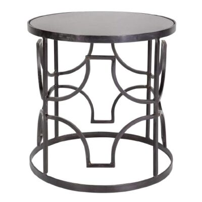 Hatton Iron & Marble Side Table, Charcoal