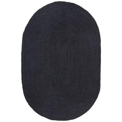 Bondi Hand Braided Jute Oval Rug, 280x190cm, Black