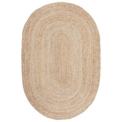 Bondi Hand Braided Jute Oval Rug, 220x150cm, Natural
