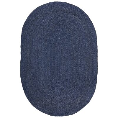 Bondi Hand Braided Jute Oval Rug, 220x150cm, Navy