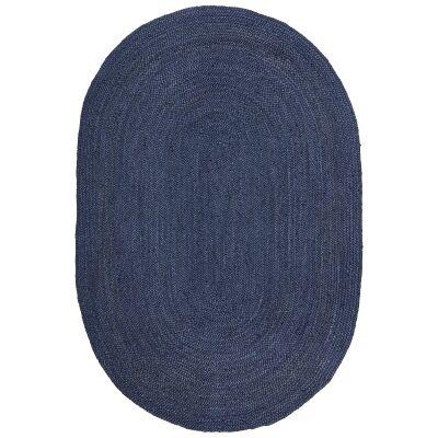 Bondi Hand Braided Jute Oval Rug, 280x190cm, Navy